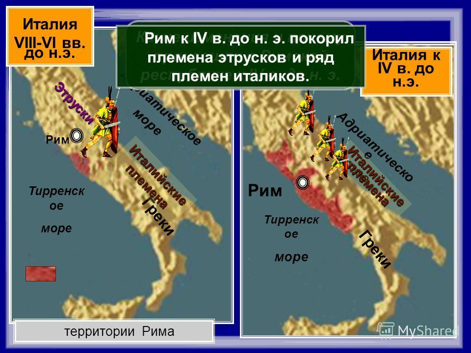 Тирренск ое море Адриатическо е море Рим Греки Италия к IV в. до н.э. Тирренск ое море Адриатическое море Рим территории Рима Греки Италия VIII-VI вв. до н.э. Италийские племена Этруски Какие изменения и почему произошли в Римской республике к IV в.