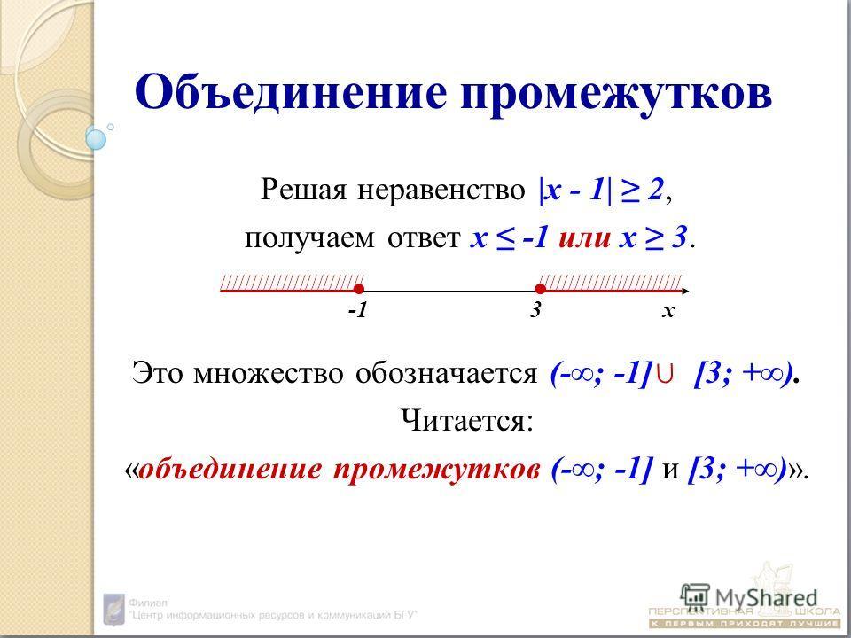 Объединение промежутков Решая неравенство |х - 1| 2, получаем ответ х -1 или х 3. Это множество обозначается (-; -1] [3; +). Читается: «объединение промежутков (-; -1] и [3; +)». -1 3 х ////////////////////////