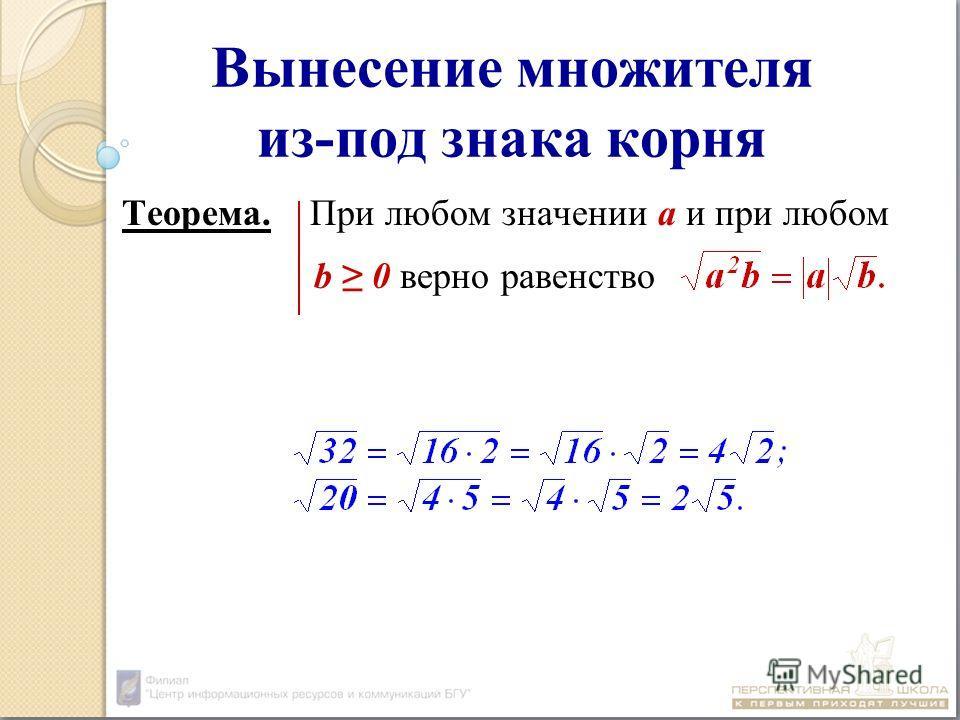 Вынесение множителя из-под знака корня Теорема. При любом значении а и при любом b 0 верно равенство