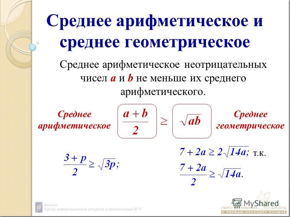Среднее арифметическое и среднее геометрическое Среднее арифметическое неотрицательных чисел а и b не меньше их среднего арифметического. Среднее арифметическое Среднее геометрическое т.к.