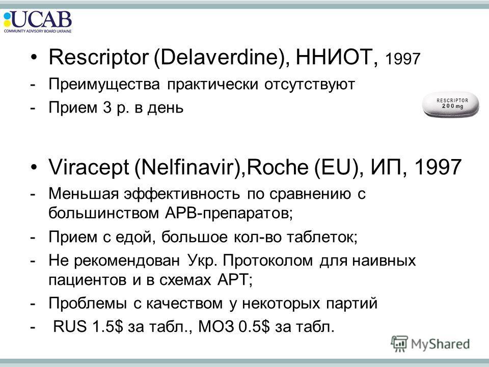 Rescriptor (Delaverdine), ННИОТ, 1997 -Преимущества практически отсутствуют -Прием 3 р. в день Viracept (Nelfinavir),Roche (EU), ИП, 1997 -Меньшая эффективность по сравнению с большинством АРВ-препаратов; -Прием с едой, большое кол-во таблеток; -Не р
