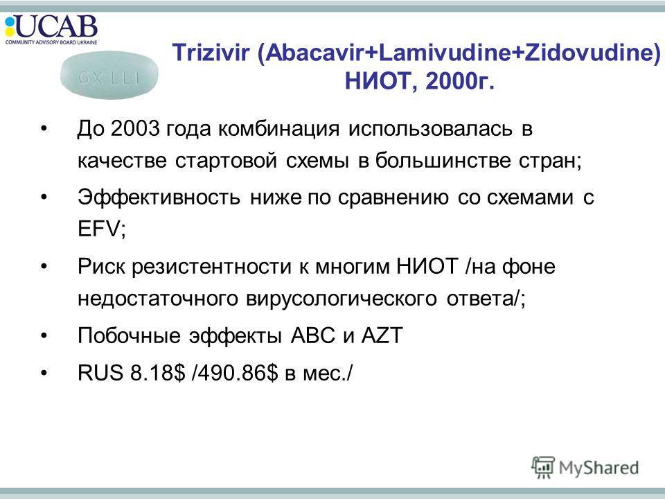 Trizivir (Abacavir+Lamivudine+Zidovudine) НИОТ, 2000г. До 2003 года комбинация использовалась в качестве стартовой схемы в большинстве стран; Эффективность ниже по сравнению со схемами с EFV; Риск резистентности к многим НИОТ /на фоне недостаточного