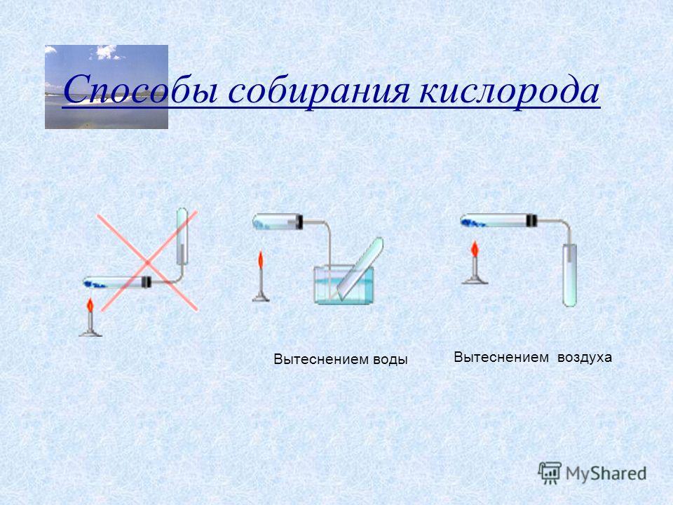Способы собирания кислорода Вытеснением воды Вытеснением воздуха
