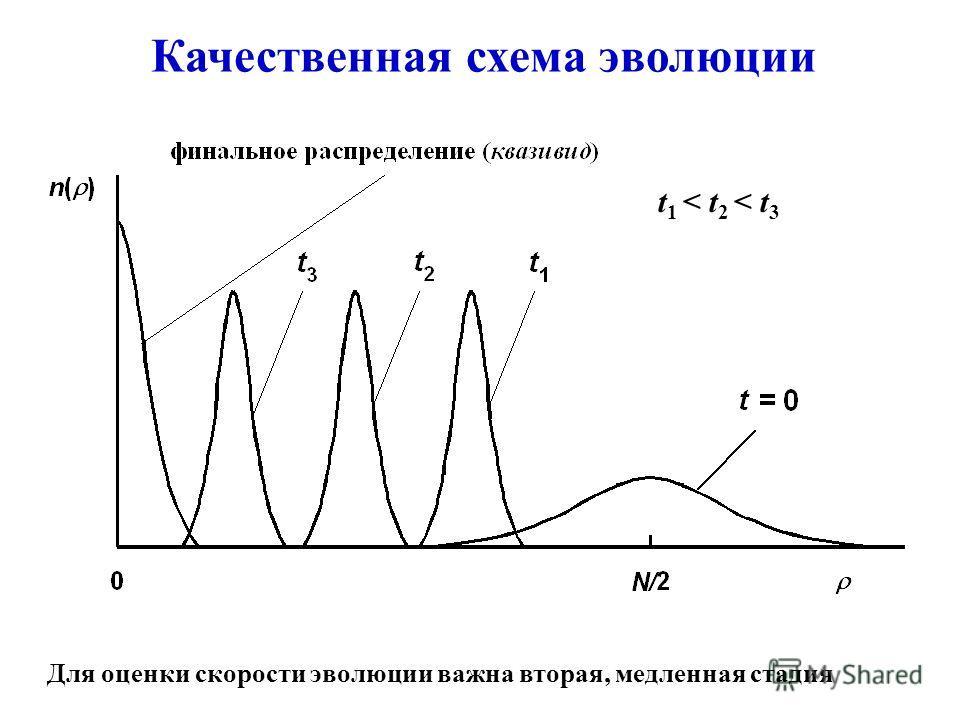 Качественная схема эволюции Для оценки скорости эволюции важна вторая, медленная стадия t 1 < t 2 < t 3