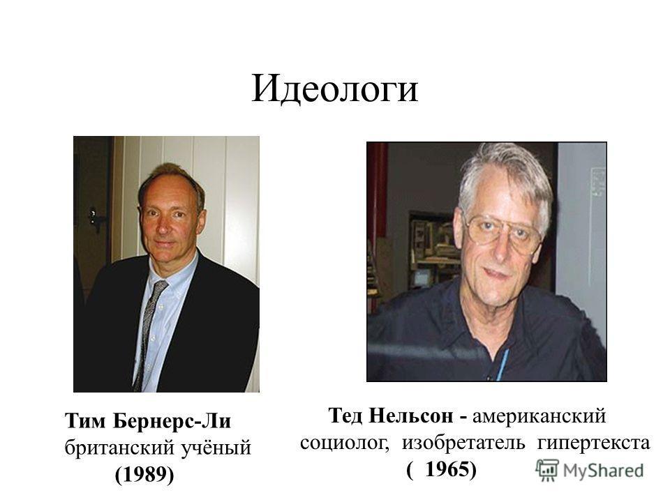 Идеологи Тим Бернерс-Ли британский учёный (1989) Тед Нельсон - американский социолог, изобретатель гипертекста ( 1965)