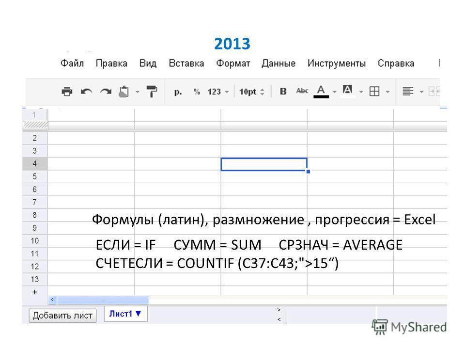 2013 Формулы (латин), размножение, прогрессия = Excel ЕСЛИ = IF СУММ = SUM СРЗНАЧ = AVERAGE СЧЕТЕСЛИ = COUNTIF (C37:C43;>15)