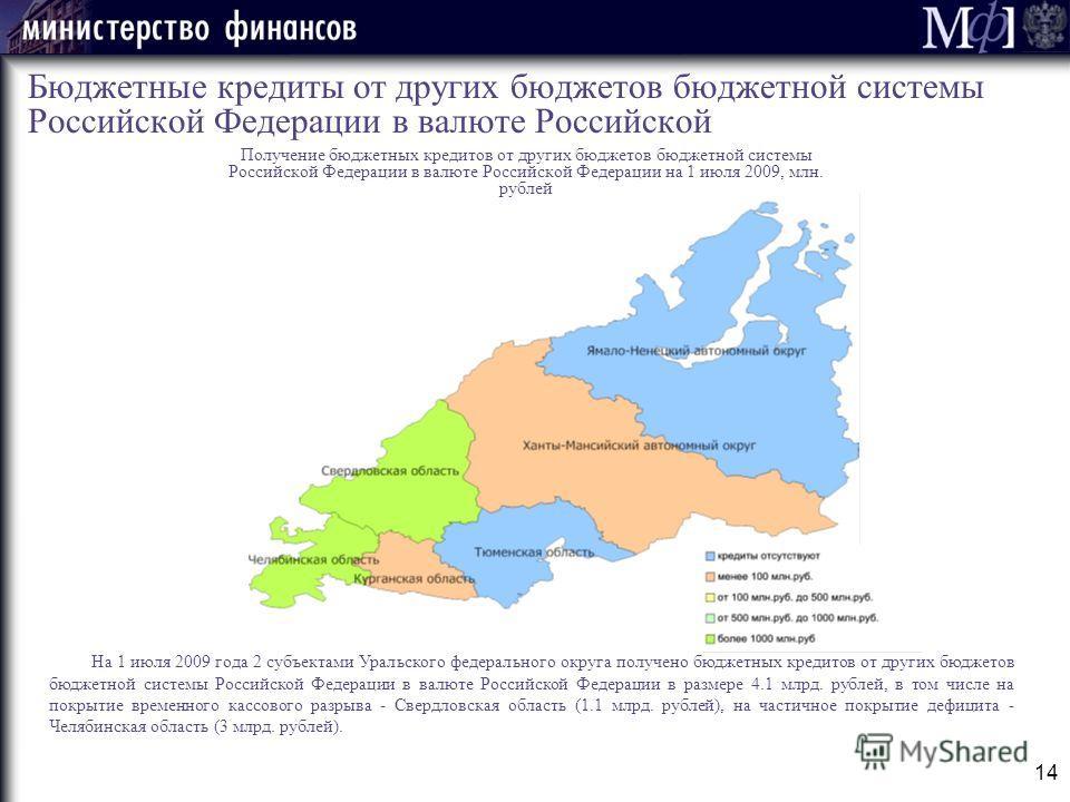 14 Бюджетные кредиты от других бюджетов бюджетной системы Российской Федерации в валюте Российской На 1 июля 2009 года 2 субъектами Уральского федерального округа получено бюджетных кредитов от других бюджетов бюджетной системы Российской Федерации в