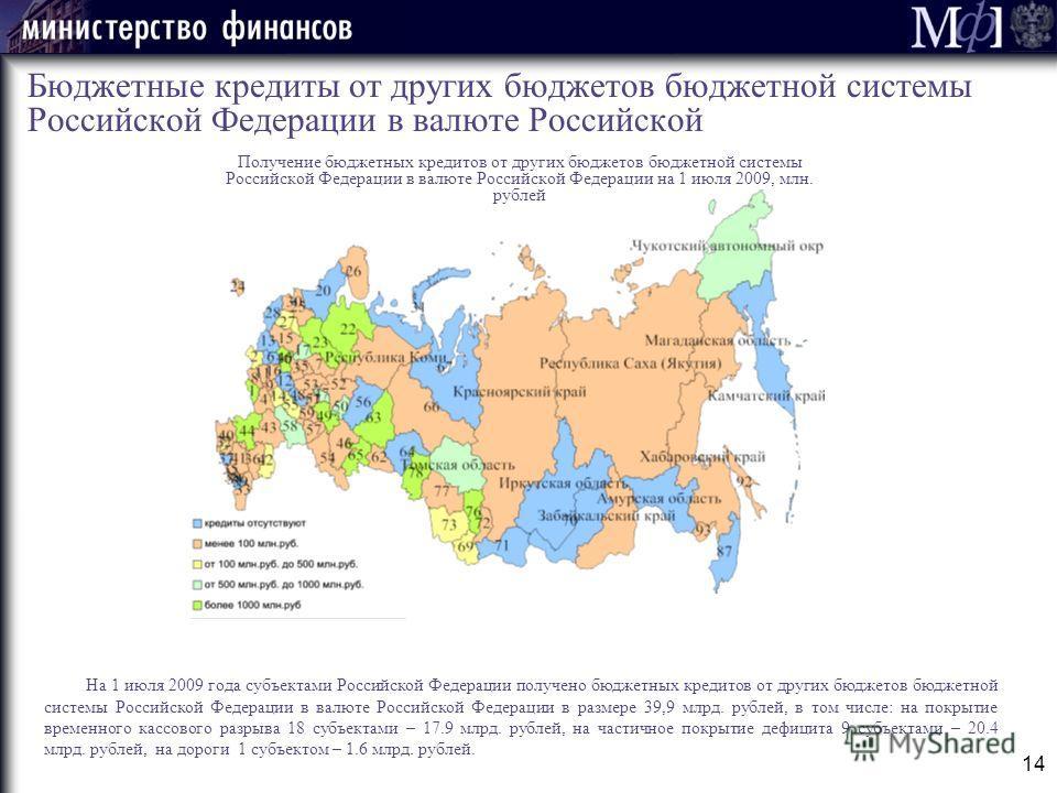 14 Бюджетные кредиты от других бюджетов бюджетной системы Российской Федерации в валюте Российской На 1 июля 2009 года субъектами Российской Федерации получено бюджетных кредитов от других бюджетов бюджетной системы Российской Федерации в валюте Росс