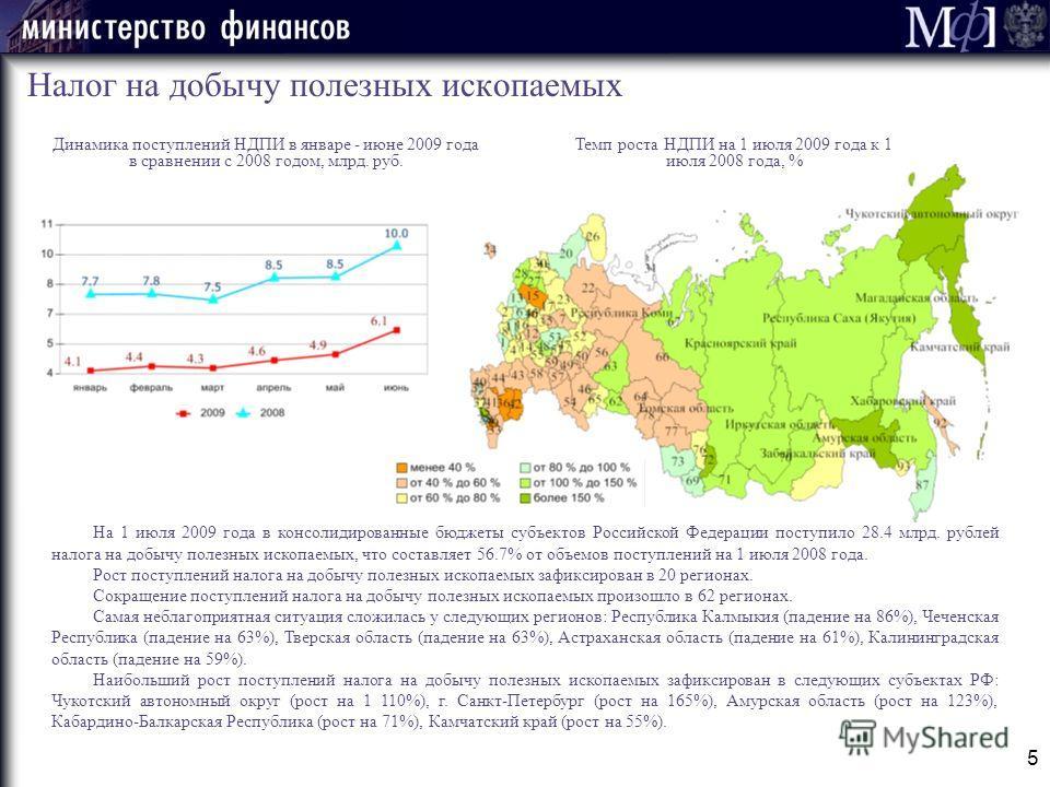 5 Налог на добычу полезных ископаемых На 1 июля 2009 года в консолидированные бюджеты субъектов Российской Федерации поступило 28.4 млрд. рублей налога на добычу полезных ископаемых, что составляет 56.7% от объемов поступлений на 1 июля 2008 года. Ро