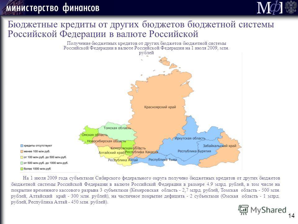 14 Бюджетные кредиты от других бюджетов бюджетной системы Российской Федерации в валюте Российской На 1 июля 2009 года субъектами Сибирского федерального округа получено бюджетных кредитов от других бюджетов бюджетной системы Российской Федерации в в