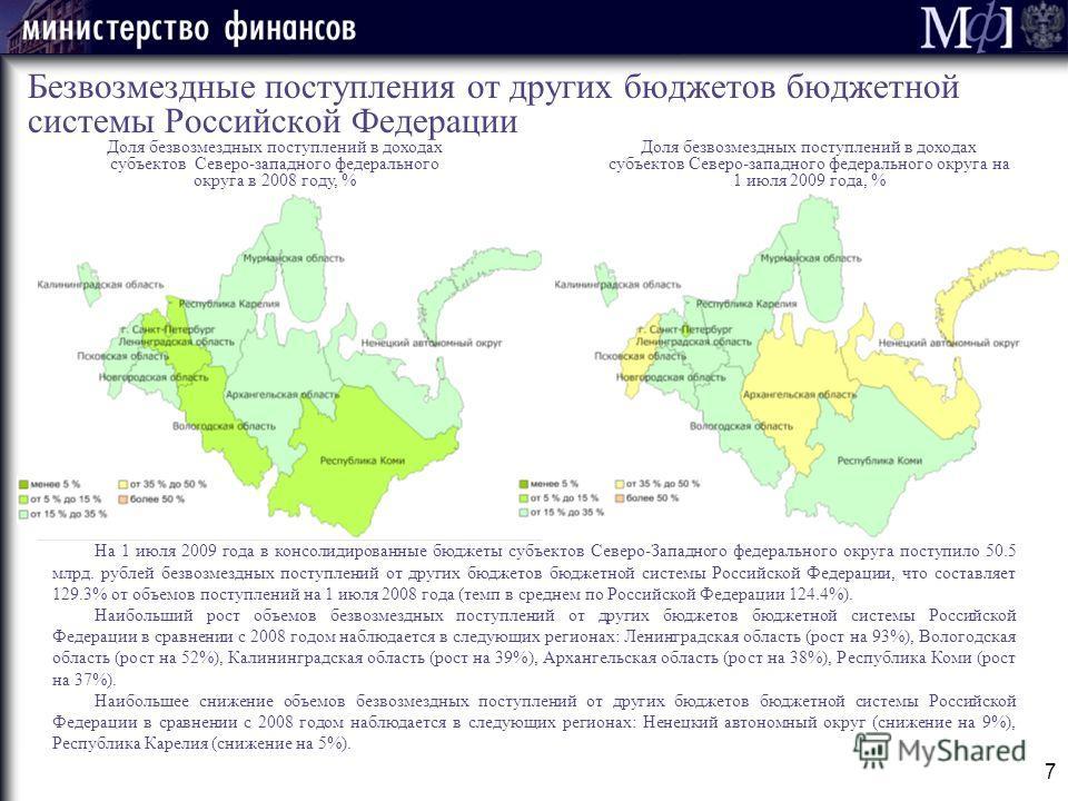 7 Безвозмездные поступления от других бюджетов бюджетной системы Российской Федерации Доля безвозмездных поступлений в доходах субъектов Северо-западного федерального округа в 2008 году, % На 1 июля 2009 года в консолидированные бюджеты субъектов Сев
