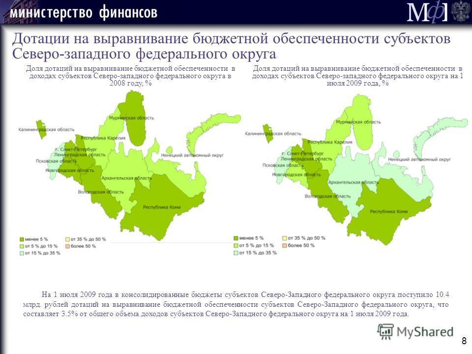 Доля дотаций на выравнивание бюджетной обеспеченности в доходах субъектов Северо-западного федерального округа в 2008 году, % 8 Дотации на выравнивание бюджетной обеспеченности субъектов Северо-западного федерального округа На 1 июля 2009 года в конс
