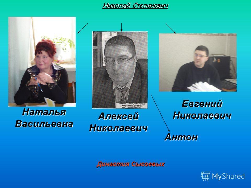 Династия Сысоевых Николай Степанович Наталья Васильевна Алексей Николаевич Евгений Николаевич Антон