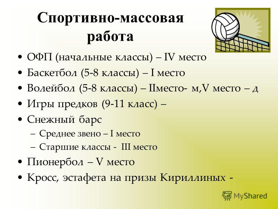 Спортивно-массовая работа ОФП (начальные классы) – IV место Баскетбол (5-8 классы) – I место Волейбол (5-8 классы) – IIместо- м,V место – д Игры предков (9-11 класс) – Снежный барс –Среднее звено – I место –Старшие классы - III место Пионербол – V ме