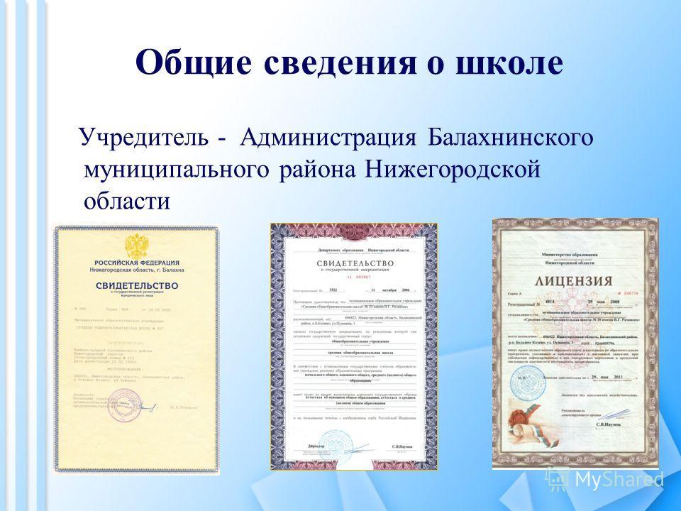 Общие сведения о школе Учредитель - Администрация Балахнинского муниципального района Нижегородской области