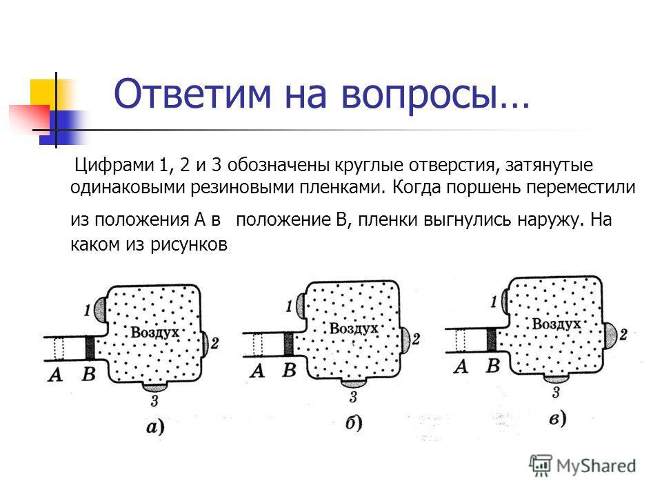 Ответим на вопросы… Цифрами 1, 2 и 3 обозначены круглые отверстия, затянутые одинаковыми резиновыми пленками. Когда поршень переместили из положения А в положение В, пленки выгнулись наружу. На каком из рисунков