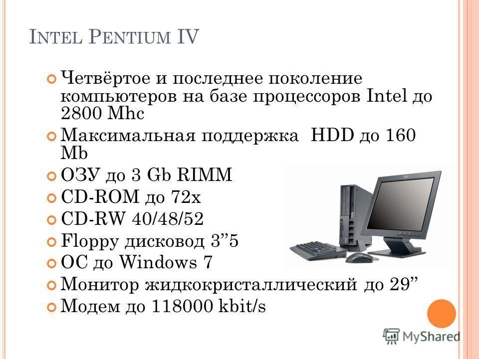 I NTEL P ENTIUM IV Четвёртое и последнее поколение компьютеров на базе процессоров Intel до 2800 Mhc Максимальная поддержка HDD до 160 Mb ОЗУ до 3 Gb RIMM CD-ROM до 72х СD-RW 40/48/52 Floppy дисковод 35 ОС до Windows 7 Монитор жидкокристаллический до
