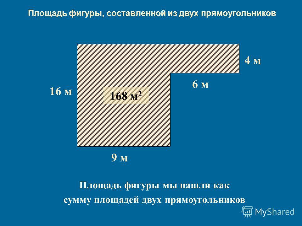 16 м16 м 9 м 4 м 6 м 144 м 2 24 м 2 168 м 2 Площадь фигуры мы нашли как сумму площадей двух прямоугольников Площадь фигуры, составленной из двух прямоугольников