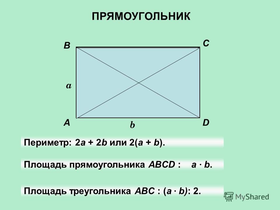 A B C D a b Периметр: 2а + 2b или 2(а + b). Площадь прямоугольника АBCD : а · b. Площадь треугольника ABC : (а · b): 2. ПРЯМОУГОЛЬНИК