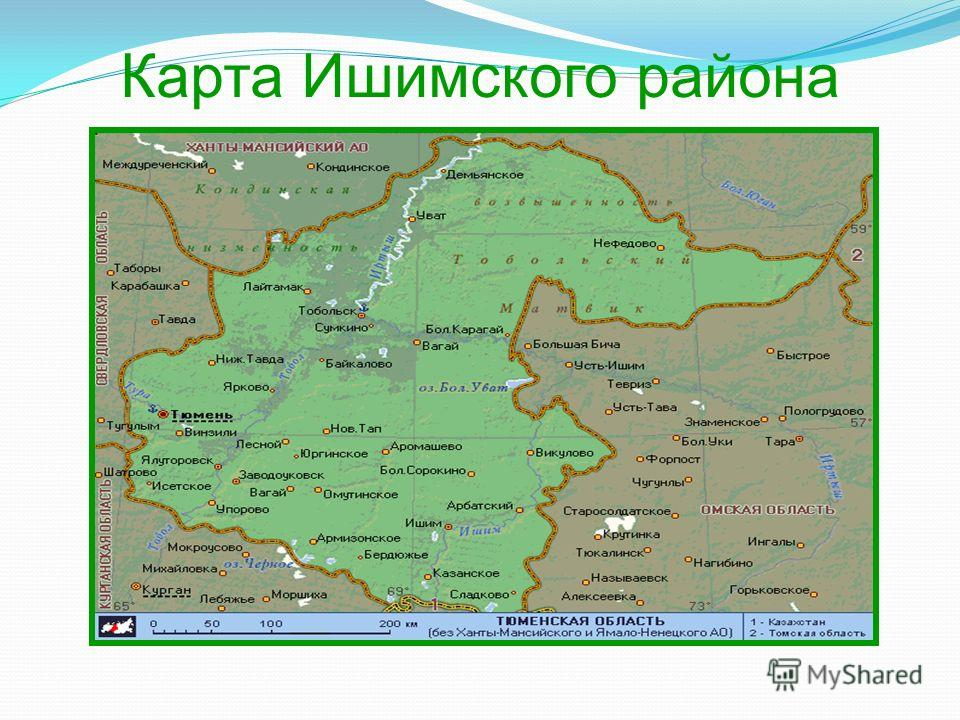Карта Ишимского района