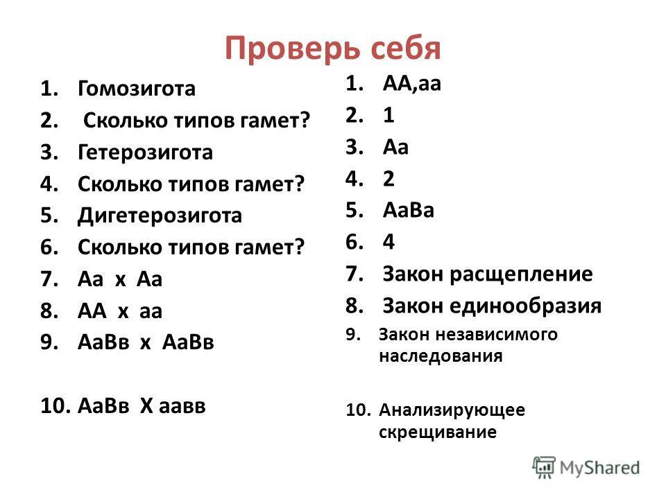 Проверь себя 1.Гомозигота 2. Сколько типов гамет? 3.Гетерозигота 4.Сколько типов гамет? 5.Дигетерозигота 6.Сколько типов гамет? 7.Аа х Аа 8.АА х аа 9.АаВв х АаВв 10.АаВв Х аавв 1.АА,аа 2.1 3.Аа 4.2 5.АаВа 6.4 7.Закон расщепление 8.Закон единообразия