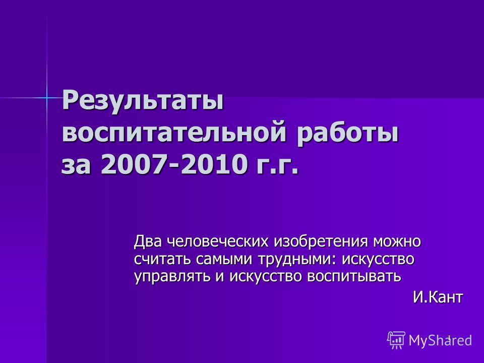 1 Результаты воспитательной работы за 2007-2010 г.г. Два человеческих изобретения можно считать самыми трудными: искусство управлять и искусство воспитывать И.Кант