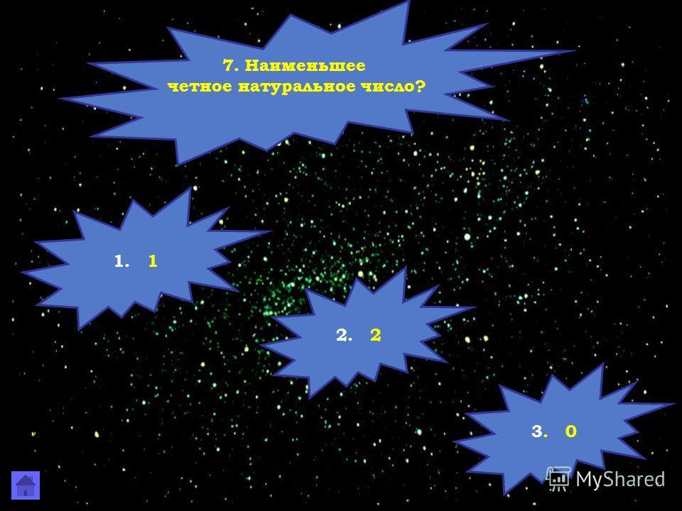 7. Наименьшее четное натуральное число? 1. 1 2. 2 3. 0