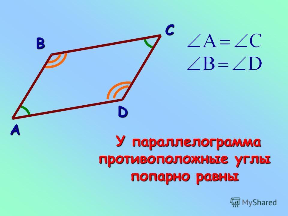 Свойство углов параллелограмма углов