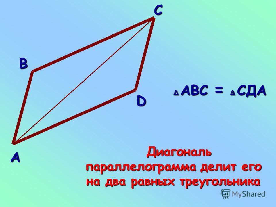 Свойство диагонали параллелограмма