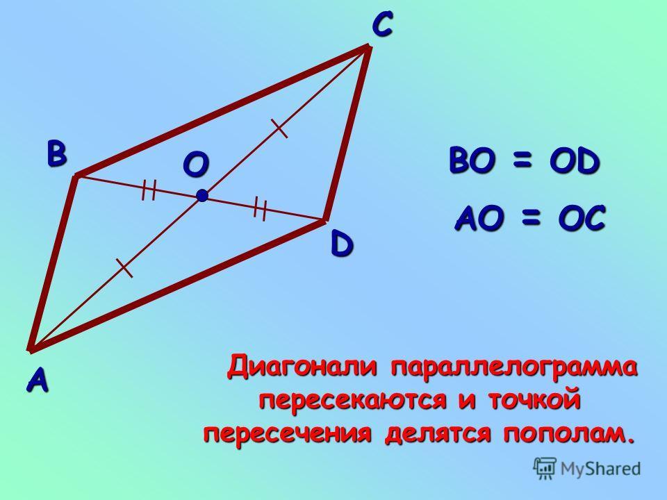 Свойство диагоналей параллелограмма диагоналей