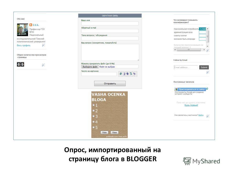 Опрос, импортированный на страницу блога в BLOGGER