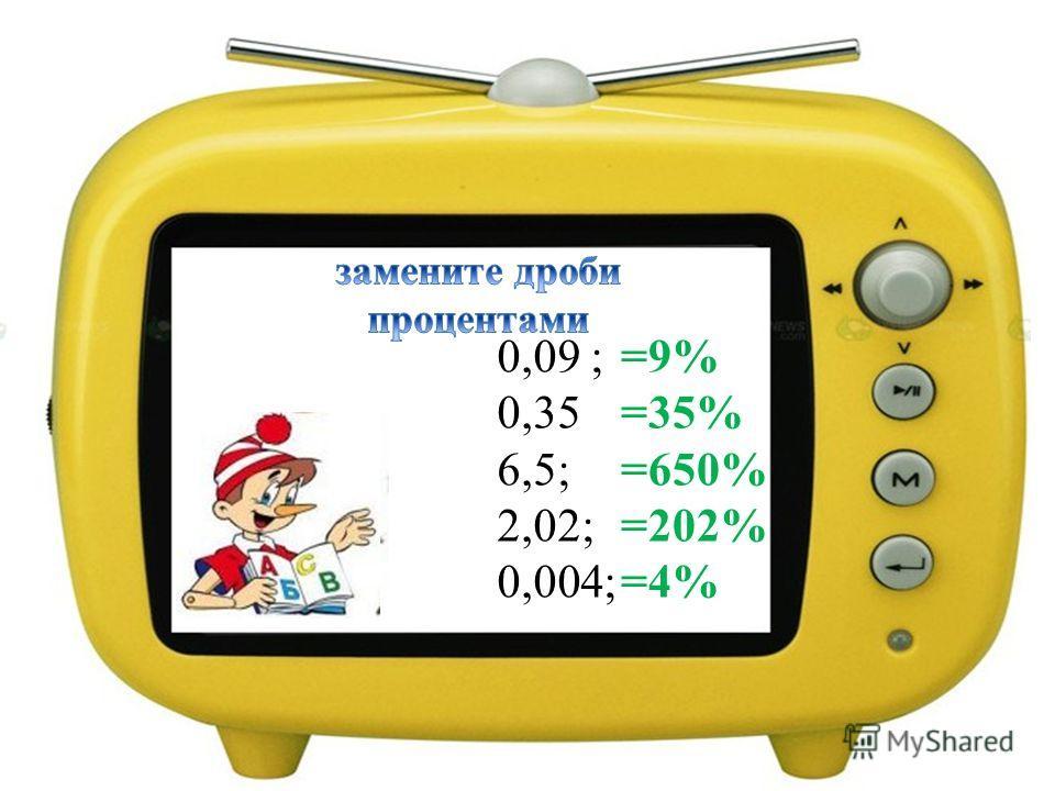 0,09 ; 0,35 6,5; 2,02; 0,004; =9% =35% =650% =202% =4%