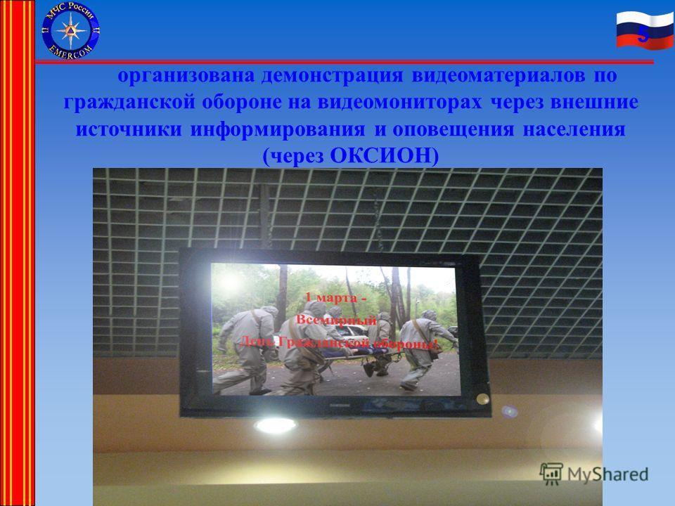 5 организована демонстрация видеоматериалов по гражданской обороне на видеомониторах через внешние источники информирования и оповещения населения (через ОКСИОН)
