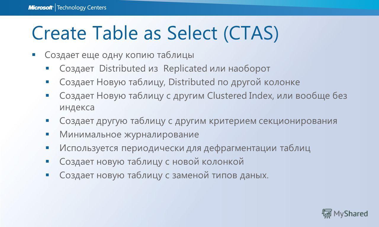 Create Table as Select (CTAS) Создает еще одну копию таблицы Создает Distributed из Replicated или наоборот Создает Новую таблицу, Distributed по другой колонке Создает Новую таблицу с другим Clustered Index, или вообще без индекса Создает другую таб