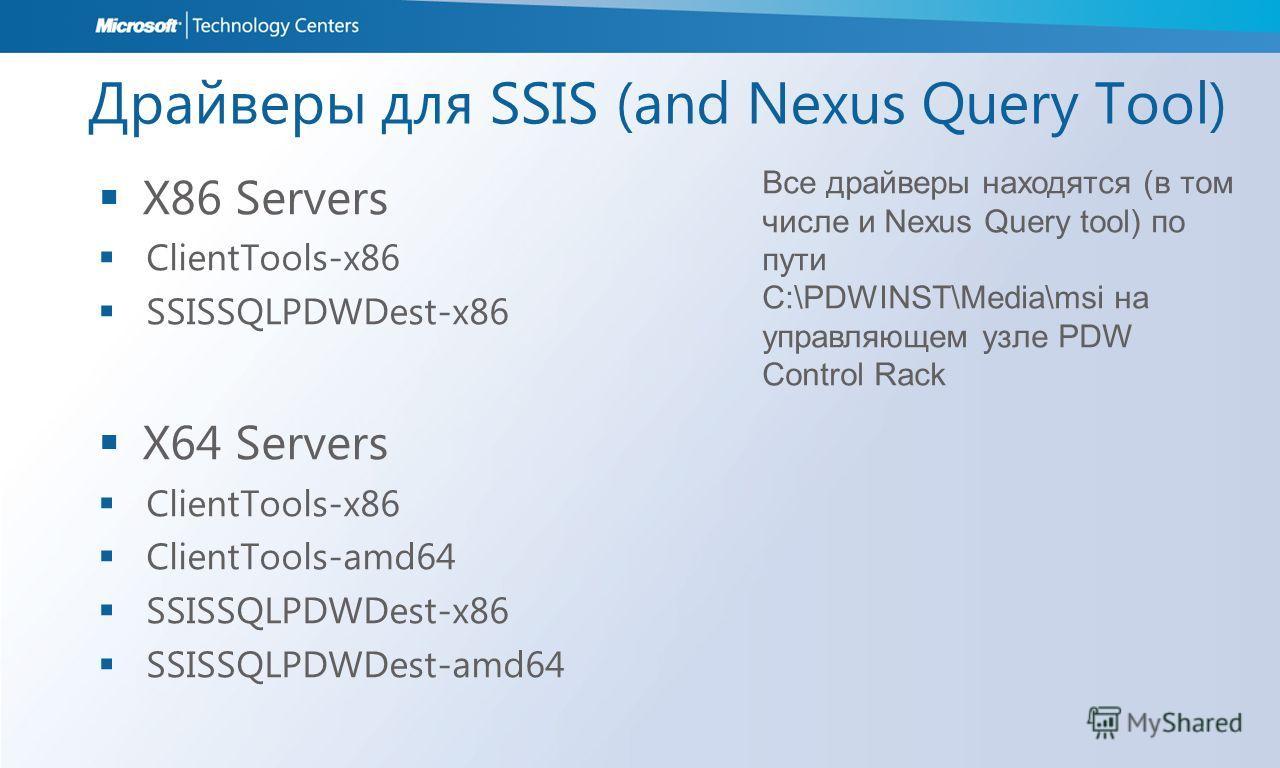 Драйверы для SSIS (and Nexus Query Tool) X86 Servers ClientTools-x86 SSISSQLPDWDest-x86 X64 Servers ClientTools-x86 ClientTools-amd64 SSISSQLPDWDest-x86 SSISSQLPDWDest-amd64