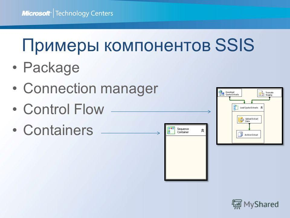 Примеры компонентов SSIS Package Connection manager Control Flow Containers