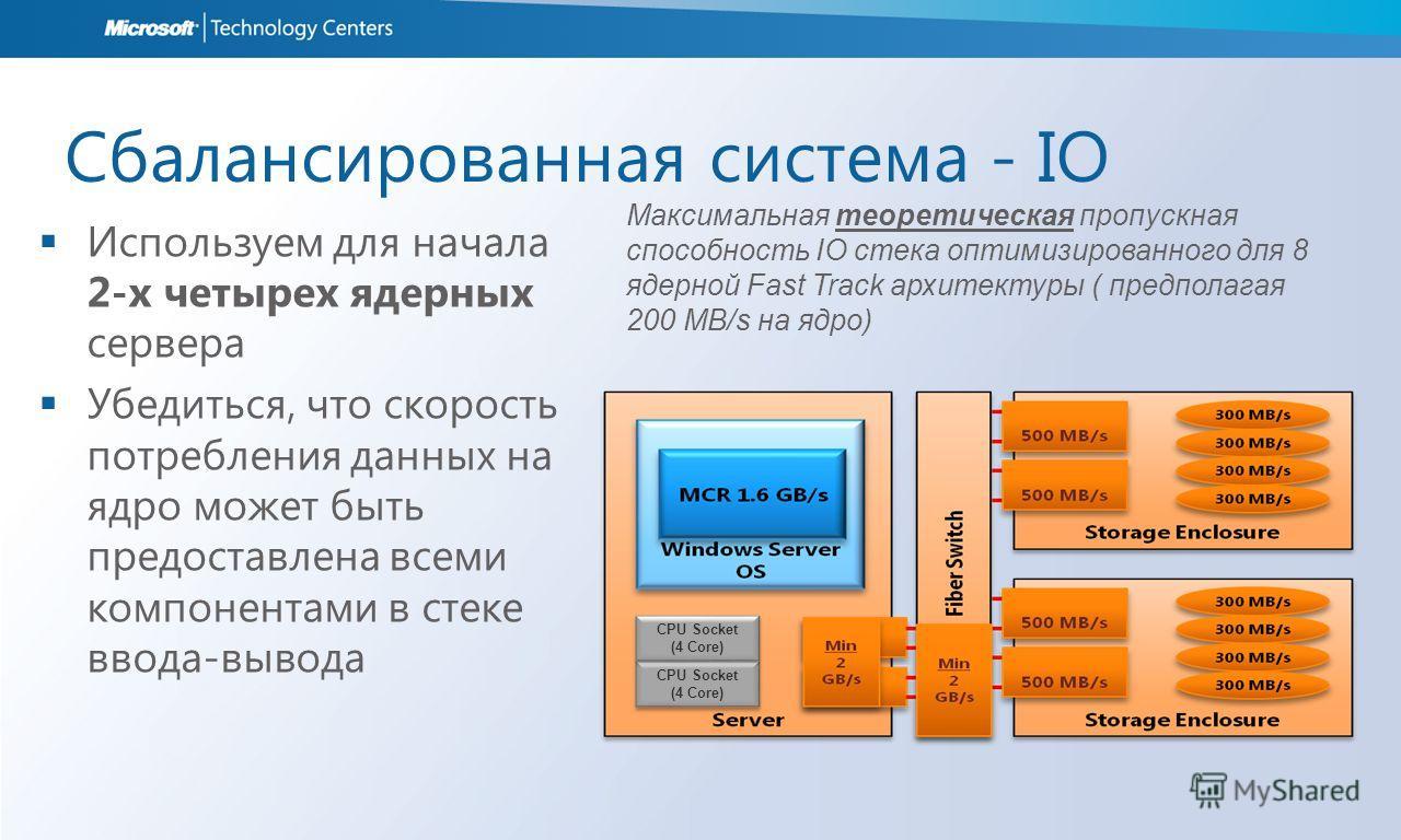 Сбалансированная система - IO Используем для начала 2-x четырех ядерных сервера Убедиться, что скорость потребления данных на ядро может быть предоставлена всеми компонентами в стеке ввода-вывода Максимальная теоретическая пропускная способность IO с