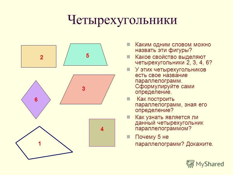 Четырехугольники Каким одним словом можно назвать эти фигуры? Какое свойство выделяют четырехугольники 2, 3, 4, 6? У этих четырехугольников есть свое название параллелограмм. Сформулируйте сами определение. Как построить параллелограмм, зная его опре