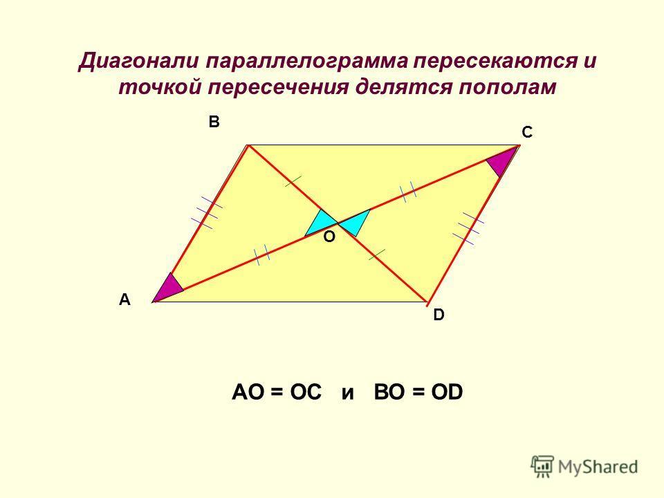 Диагонали параллелограмма пересекаются и точкой пересечения делятся пополам A D B C O АО = ОС и ВО = ОD