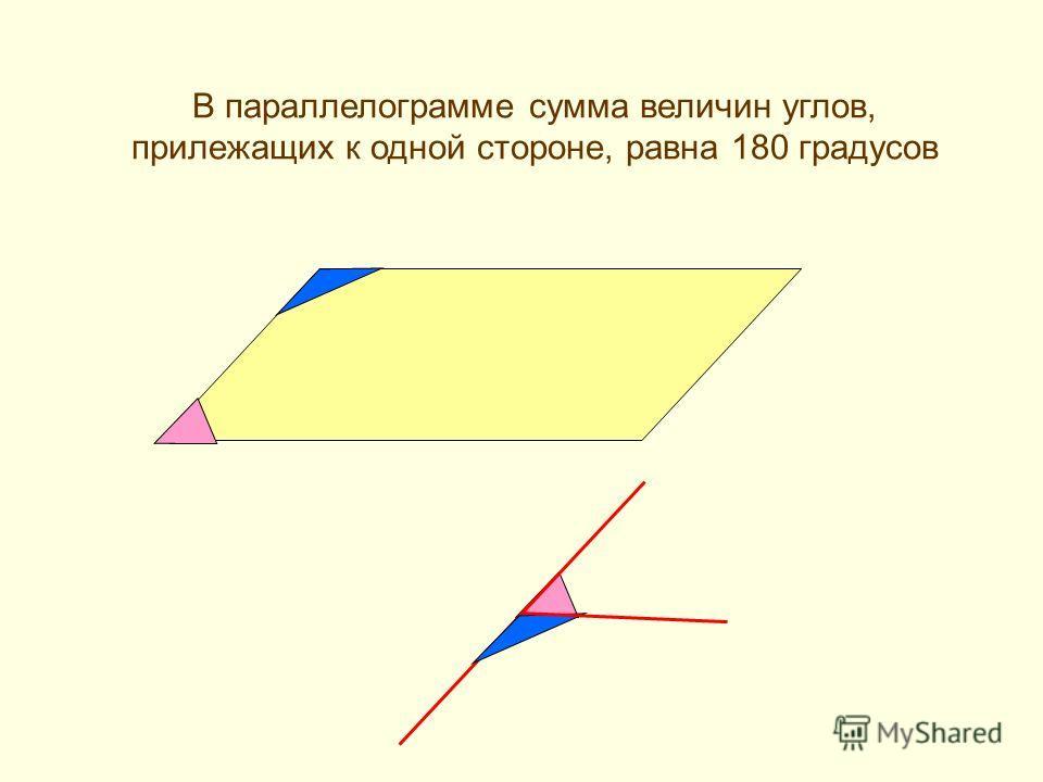В параллелограмме сумма величин углов, прилежащих к одной стороне, равна 180 градусов