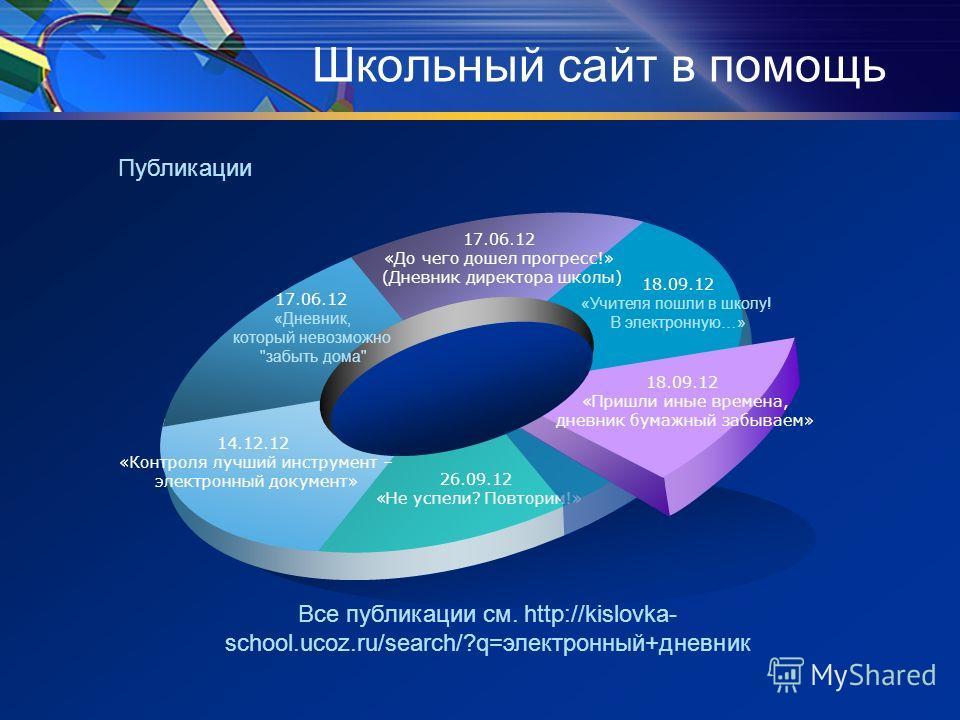 Школьный сайт в помощь 17.06.12 «Дневник, который невозможно