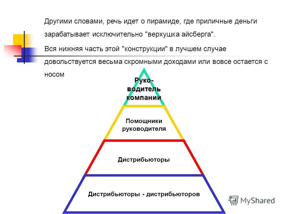 Руко-водителькомпании Помощники руководителя Дистрибьюторы Дистрибьюторы - дистрибьюторов Другими словами, речь идет о пирамиде, где приличные деньги зарабатывает исключительно