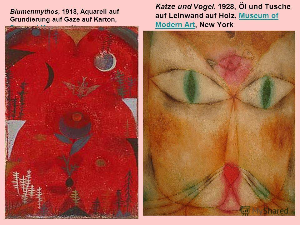 Blumenmythos, 1918, Aquarell auf Grundierung auf Gaze auf Karton, Sprengel Museum, Hannover Sprengel Museum Katze und Vogel, 1928, Öl und Tusche auf Leinwand auf Holz, Museum of Modern Art, New YorkMuseum of Modern Art