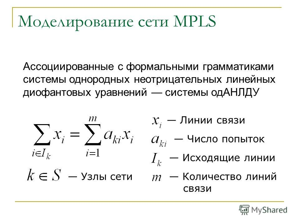 Моделирование сети MPLS Ассоциированные с формальными грамматиками системы однородных неотрицательных линейных диофантовых уравнений системы одАНЛДУ Линии связи Число попыток Исходящие линии Количество линий связи Узлы сети