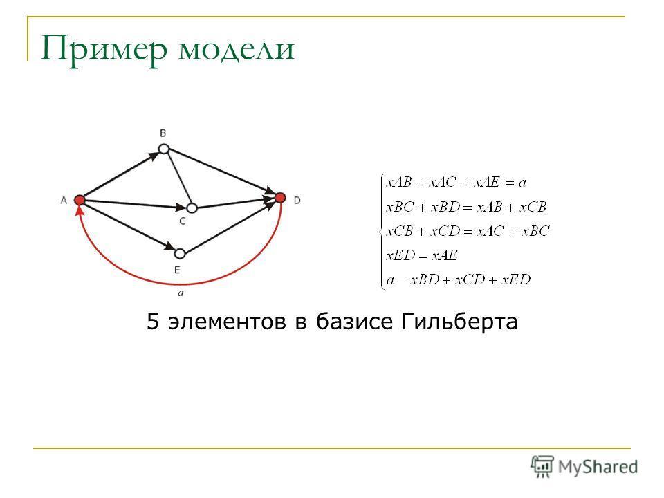 Пример модели 5 элементов в базисе Гильберта
