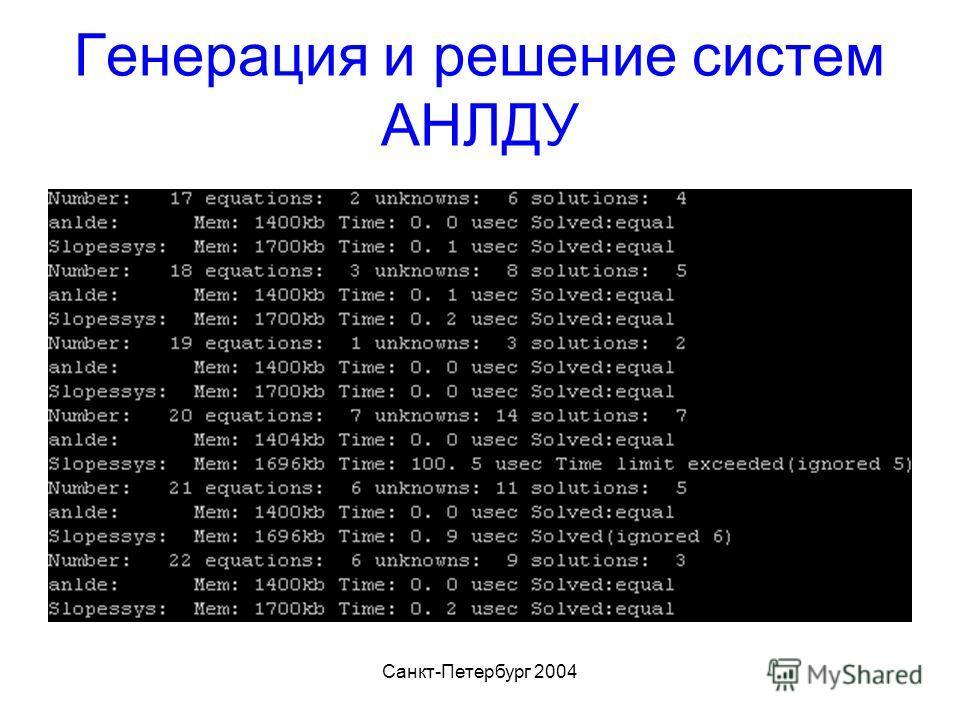 Санкт-Петербург 2004 Генерация и решение систем АНЛДУ