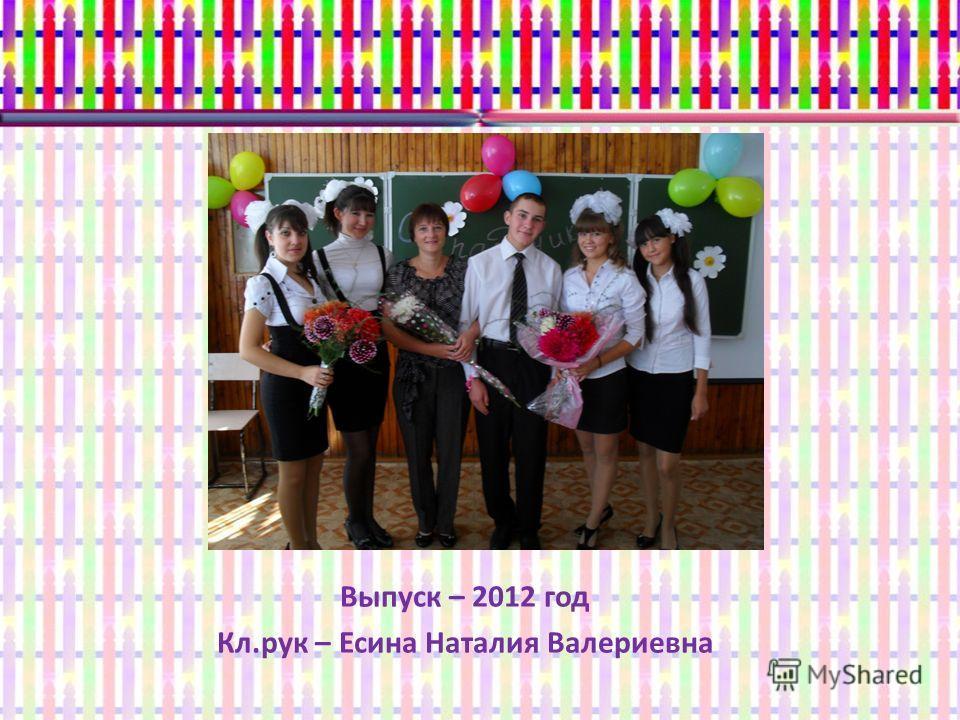 Выпуск – 2012 год Кл.рук – Есина Наталия Валериевна