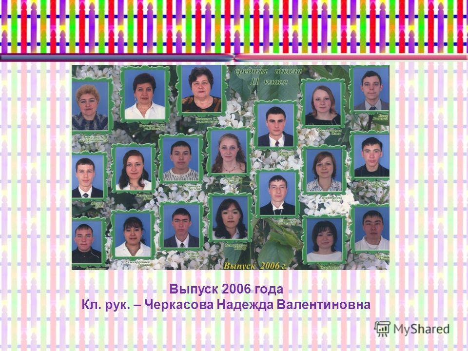 Выпуск 2006 года Кл. рук. – Черкасова Надежда Валентиновна