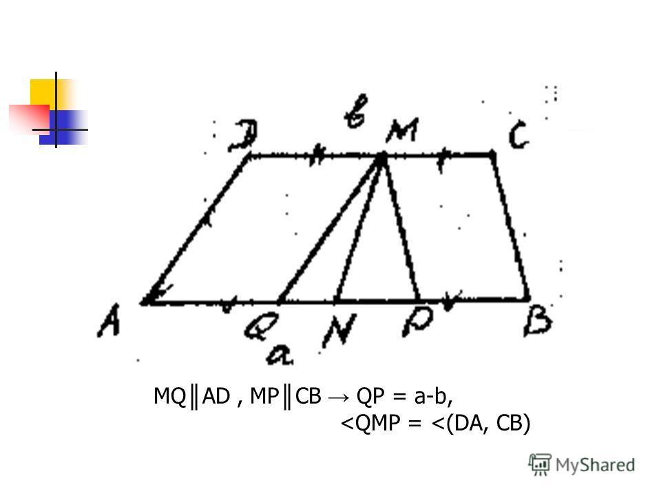 г). MQ AD, MP CB QP = a-b,