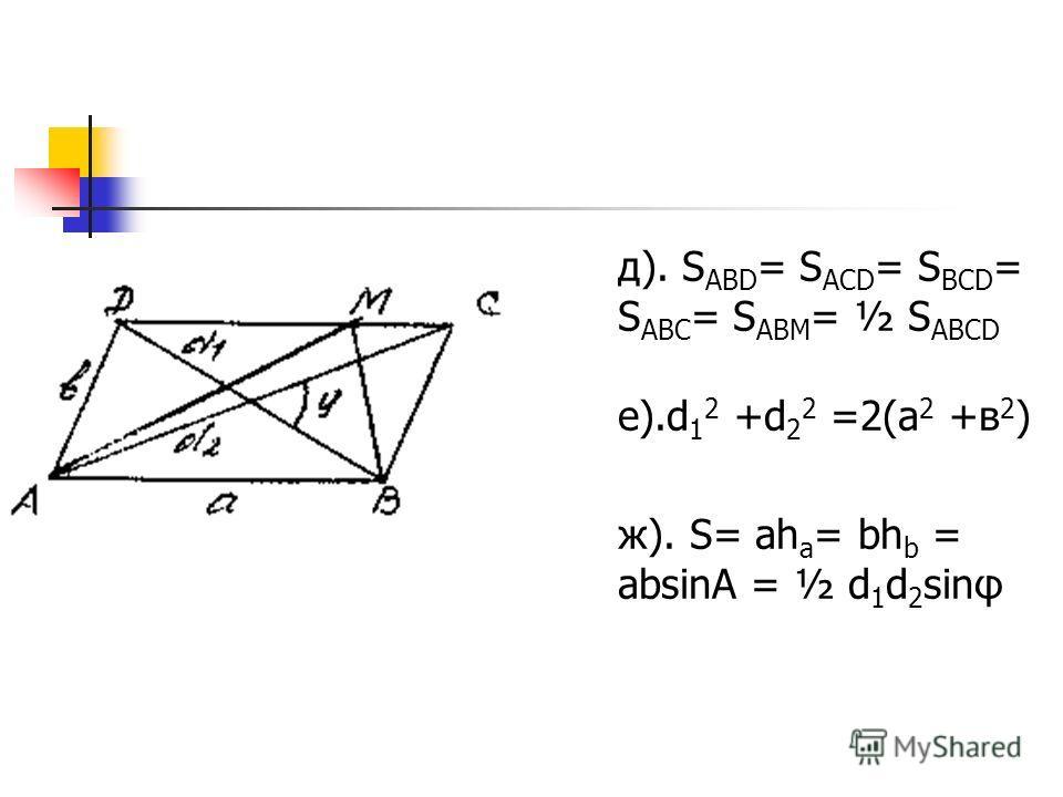 д). S ABD = S ACD = S BCD = S ABC = S ABM = ½ S ABCD е).d 1 2 +d 2 2 =2(а 2 +в 2 ) ж). S= ah а = bh b = absinA = ½ d 1 d 2 sinφ